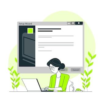 Ilustração do conceito de assistente de instalação