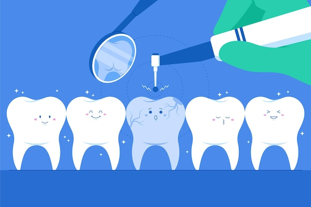Ilustração do conceito de atendimento odontológico com dentes