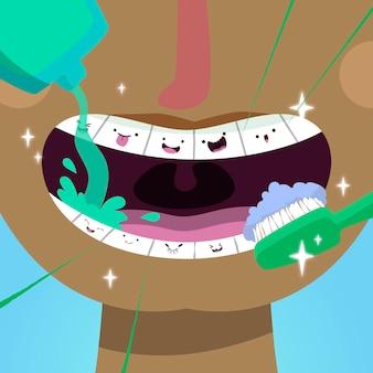 Ilustração do conceito de atendimento odontológico dos desenhos animados