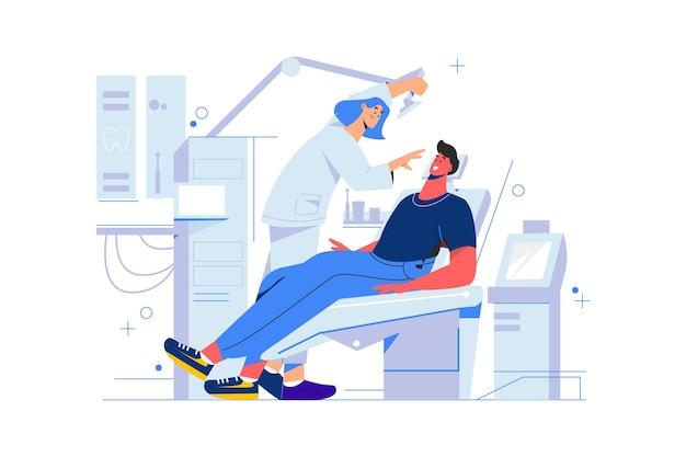Ilustração do conceito de atendimento odontológico