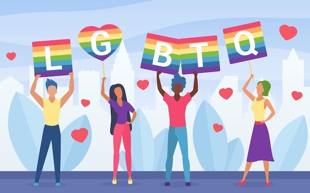 Ilustração do conceito de ativismo do orgulho lgbt.