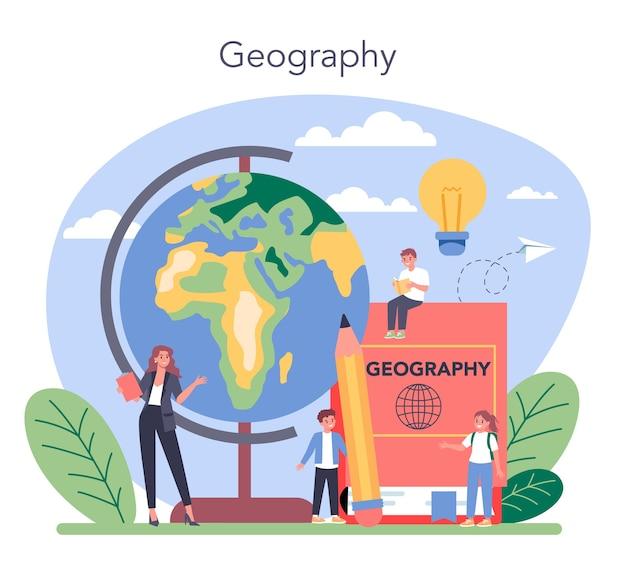 Ilustração do conceito de aula de geografia