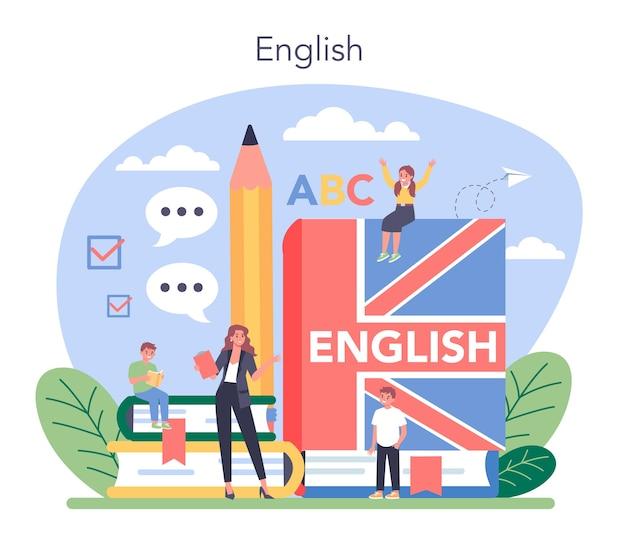Ilustração do conceito de aula de inglês