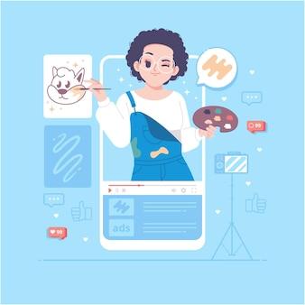 Ilustração do conceito de aulas de arte online