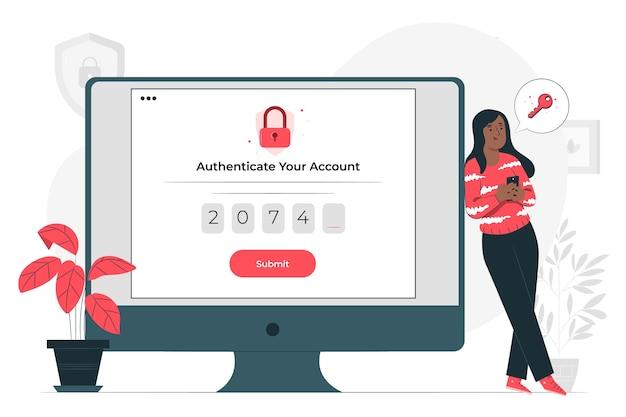 Ilustração do conceito de autenticação