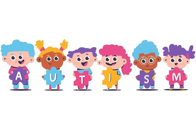Ilustração do conceito de autismo com crianças e quebra-cabeça.