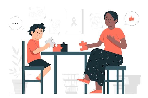 Ilustração do conceito de autismo
