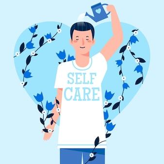 Ilustração do conceito de auto-cuidado