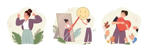 Ilustração do conceito de auto-orgulho, auto-aceitação, auto-imagem positiva e auto-estima
