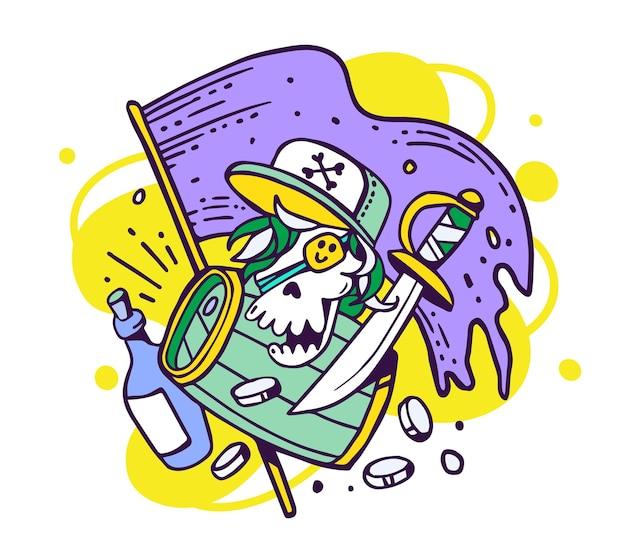 Ilustração do conceito de aventura do crânio do pirata em um boné