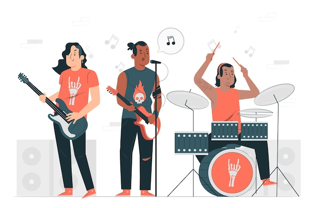 Ilustração do conceito de banda de rock