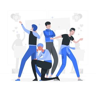 Ilustração do conceito de banda k-pop