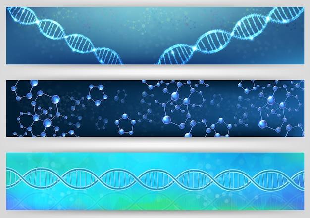 Ilustração do conceito de banner de hélice e molécula de dna