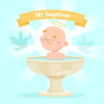 Ilustração do conceito de batismo de desenho animado
