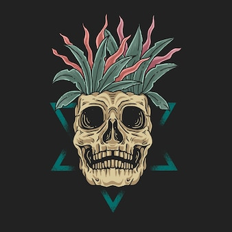 Ilustração do conceito de beleza morta floral no crânio
