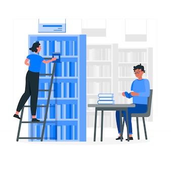 Ilustração do conceito de biblioteca