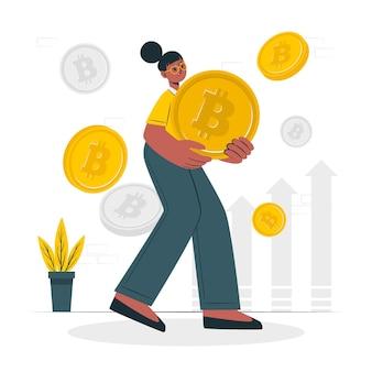 Ilustração do conceito de bitcoin