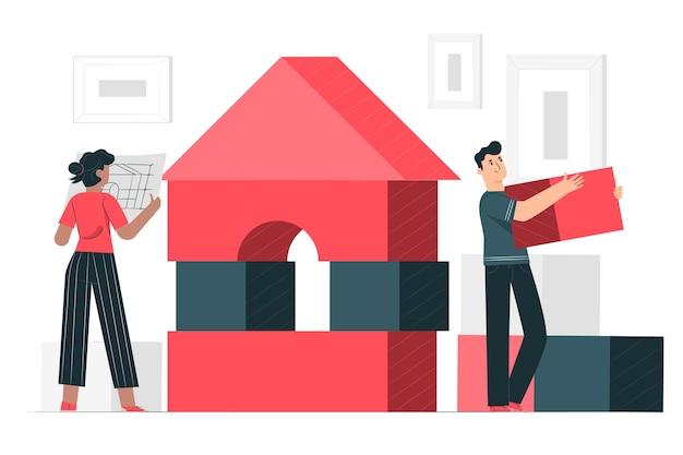 Ilustração do conceito de blocos de construção