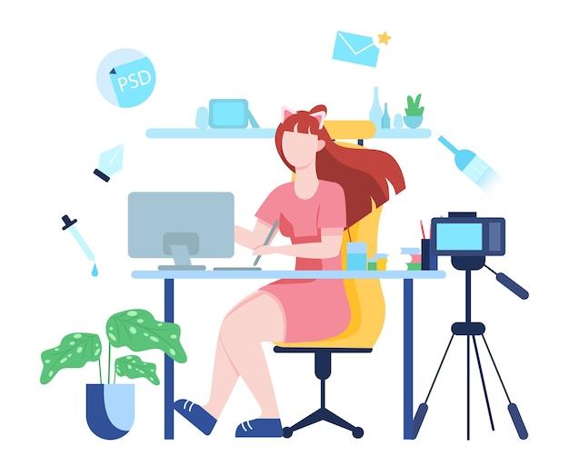 Ilustração do conceito de blog de vídeo. ideia de criatividade e criação de conteúdo, profissão moderna. vídeo de gravação de personagem com câmera para seu blog.