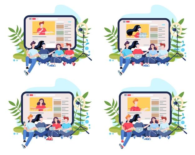 Ilustração do conceito de blogger. compartilhe conteúdo na internet. idéia de mídia social e rede. comunicação online. conjunto de ilustração