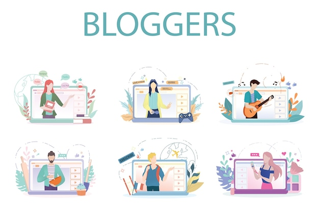 Ilustração do conceito de blogger. compartilhe conteúdo na internet.