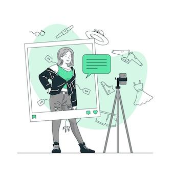 Ilustração do conceito de blogging de moda
