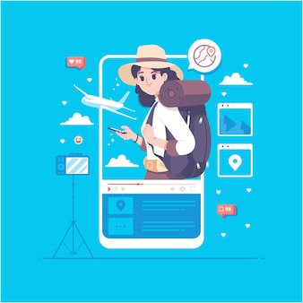 Ilustração do conceito de blogging de vídeo de turismo