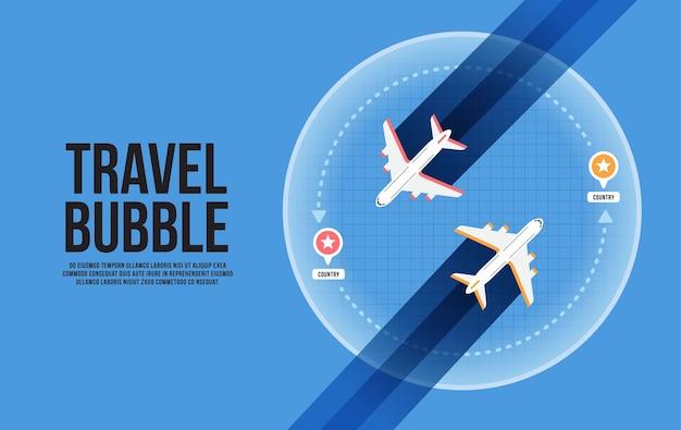 Ilustração do conceito de bolha de viagens