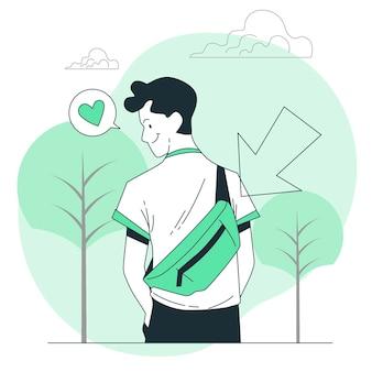 Ilustração do conceito de bolsa de cintura