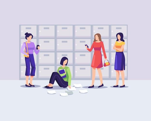 Ilustração do conceito de bullying adolescente. adolescente triste sentada no chão, cercada por colegas de classe zombando dela. vetor em um estilo simples
