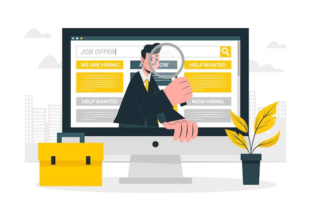 Ilustração do conceito de busca de emprego