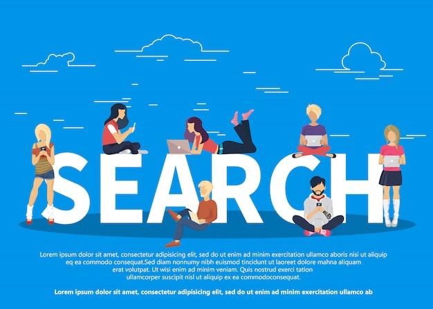 Ilustração do conceito de busca on-line