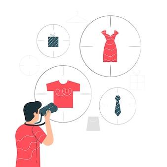 Ilustração do conceito de caça ao produto