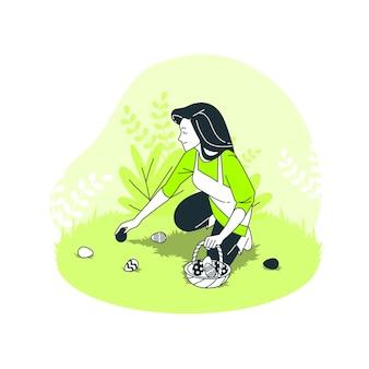 Ilustração do conceito de caça aos ovos de páscoa