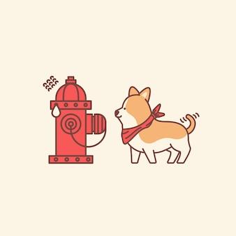 Ilustração do conceito de cachorro fofo e hidrante assustado