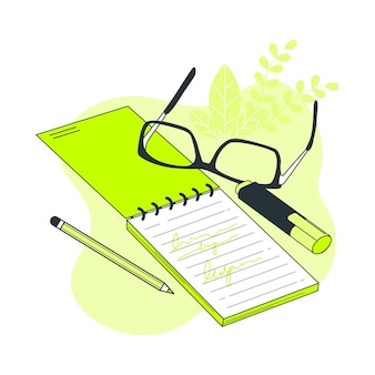 Ilustração do conceito de caderno