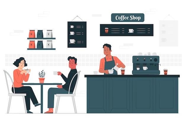 Ilustração do conceito de cafeteria