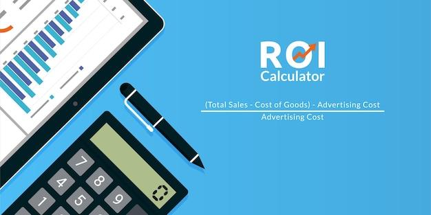 Ilustração do conceito de calculadora de roi do retorno sobre o investimento.