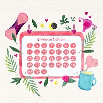 Ilustração do conceito de calendário menstrual colorido