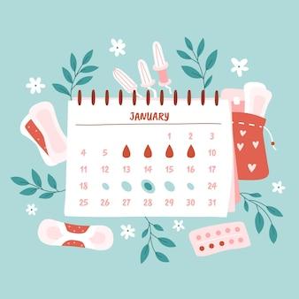 Ilustração do conceito de calendário menstrual com elementos florais