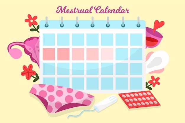 Ilustração do conceito de calendário menstrual