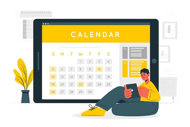 Ilustração do conceito de calendário online