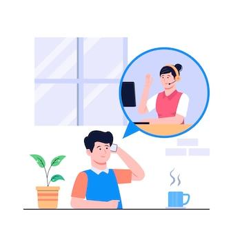 Ilustração do conceito de call center
