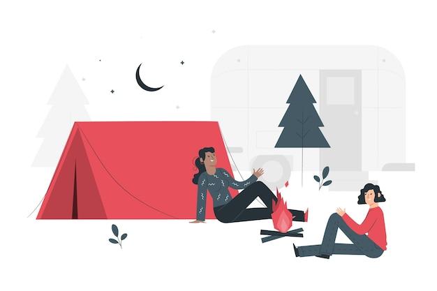 Ilustração do conceito de campismo