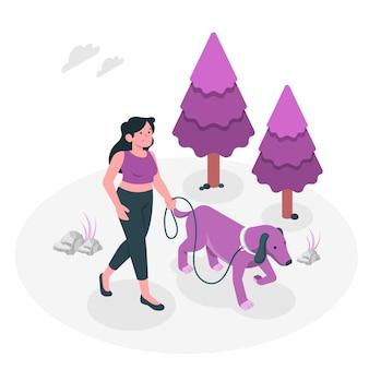 Ilustração do conceito de cão andando
