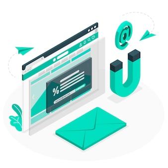 Ilustração do conceito de captura de e-mail