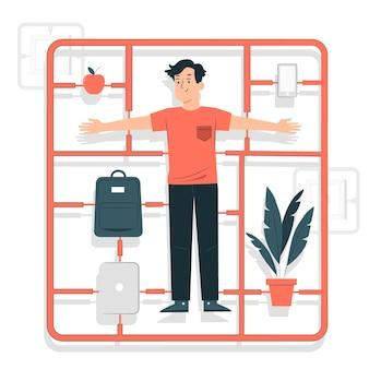 Ilustração do conceito de caracteres sprue e bits