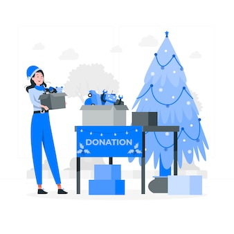 Ilustração do conceito de caridade de natal