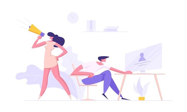 Ilustração do conceito de carreira de sucesso empresarial contratando funcionários