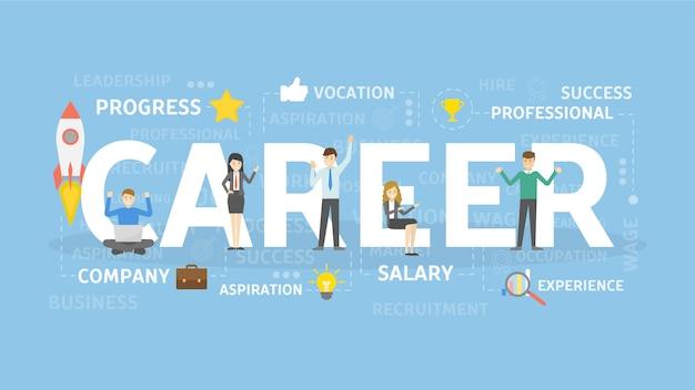 Ilustração do conceito de carreira. ideia de emprego, progresso e riqueza.